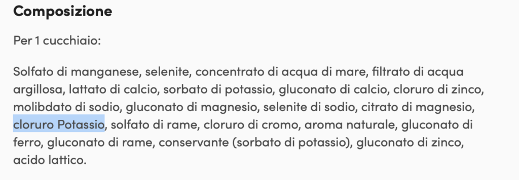 potassio cloruro